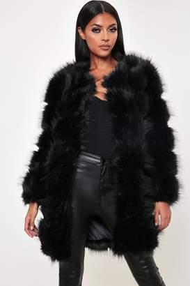 I SAW IT FIRST Black Longline Faux Fur Coat
