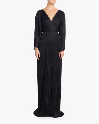 Maria Lucia Hohan Catalina Embellished Long Sleeve Gown