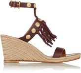 Valentino Embellished leather espadrille wedge sandals