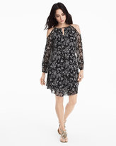 White House Black Market Cold Shoulder Floral Print Blouson Dress