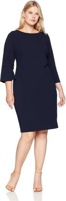 Calvin Klein Women's Size Solid Three Quarter Split Sleeved Sheath