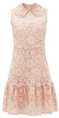 RED Valentino Peter Pan Collar Floral-macrame Mini Dress - Womens - Light Pink