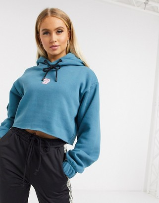Criminal Damage cropped hoodie teal
