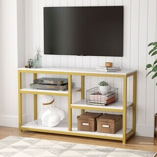 Overstock Console Table Sofa Table with Storage Shelf for Hallway Entryway Living Room Bedroom Gold&White