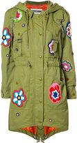 Moschino flower patch fishtail jacket - women - Cotton/Polyamide/Rayon - 40