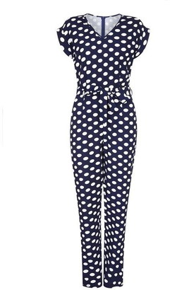 Yumi Polka Dot Capped Sleeve Jumpsuit
