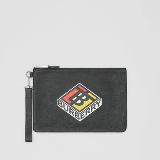 Burberry Logo Graphic Grainy Leather Zip Pouch
