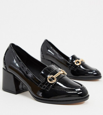 ASOS DESIGN Wide Fit Skylar mid-heeled loafers in black patent