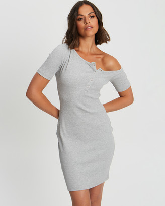Calli - Women's Grey Mini Dresses - Molly Rib Mini - Size One Size, 6 at The Iconic