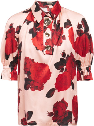 Mother of Pearl Gathered Floral-print Satin Top