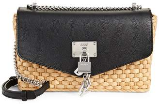 DKNY Elissa Straw Crossbody Shoulder Bag