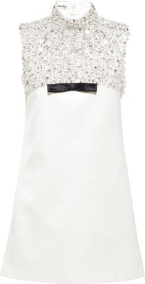 Miu Miu Sleeveless Crystal Mini Dress