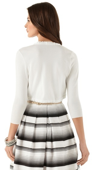 White House Black Market White Ruffle Trim Shrug