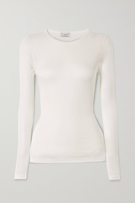 Ernest Leoty Alice Ribbed Stretch-modal Top - White