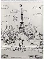 "Creative Bath Products Paris Day Black Design on Clear Vinyl Shower Curtain, 72"" x 72"""