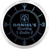 AdvPro Clock ncqm1334-b DANIEL'S Recording Studio On Air Microphone Bar Beer LED Neon Sign Wall Clock