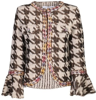 The Extreme Collection Brown Checkered Knit Jacket Bartolomea