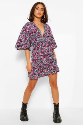 boohoo Floral Print V Neck Angel Sleeve Mini Dress
