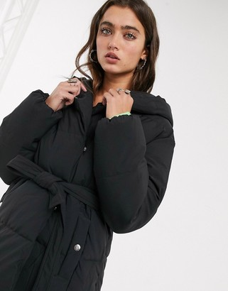 Bershka puffer coat with belt in black