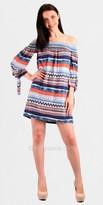 Voom Kayla Aztec Print Off Shoulder Casual Dresses