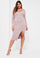 Missguided Plus Size Mauve Knit Ribbed Midi Dress