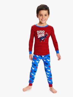 Hatley Boys' T-Rex Dinosaur Applique Pyjamas, Red/Blue