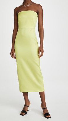 Brandon Maxwell Strapless Midi Cocktail Dress