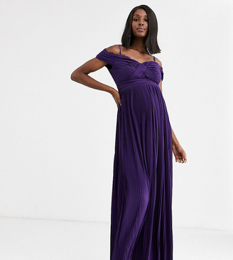 ASOS DESIGN Maternity lace and pleat bardot maxi dress