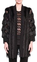 Missoni Metallic Fringed Cardigan Sweater, Black