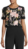 Josie Natori Floral-Embroidered Back-Zip Cropped T-Shirt