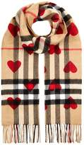 Burberry Classic Cashmere Check Heart Scarf