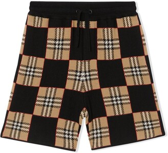 BURBERRY KIDS Check Patchwork Shorts