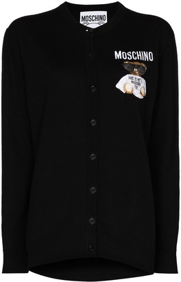 Moschino embroidered Teddy-patch cardigan