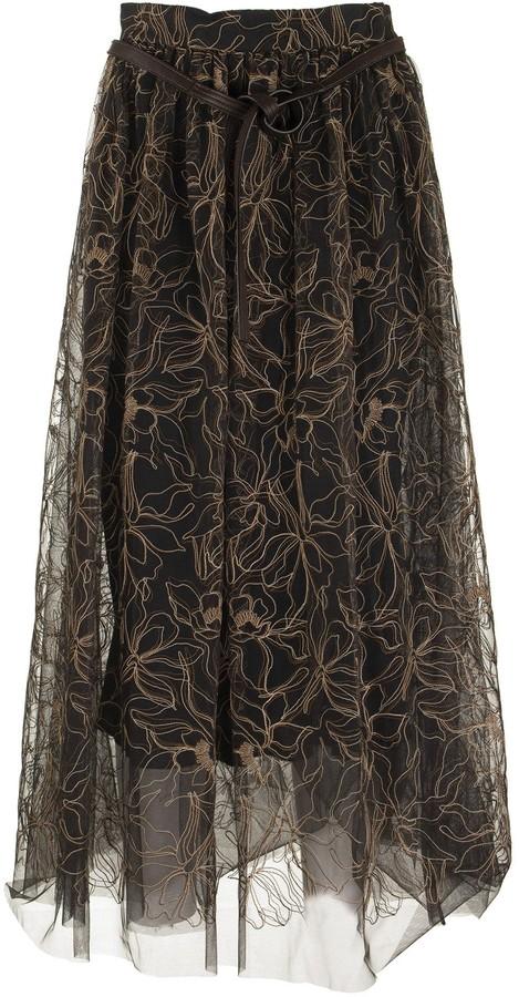 Brunello Cucinelli Skirt Raw Embroidery Tulle Skirt