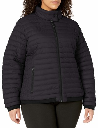 Andrew Marc Women's Plus Size Super Soft Packable Jacket with Stripe Knit Rib