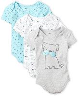 Petit Lem Newborn/Infant Boys) 3-Pack Stars & Puppies Bodysuits