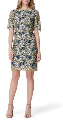 Tahari Embellished Lace Sheath Dress