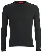 Hugo Splatted Crew Neck Cashmere Blend Knitted Jumper Black