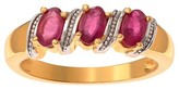 Journee Collection 1/2 CT. T.W. Oval-cut Ruby Three Stone Prong Set Ring in 14k Goldplated Sterling Silver - Red