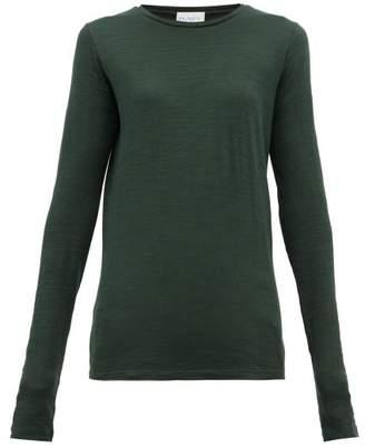 Raey Long-sleeved Slubby Cotton-jersey T-shirt - Womens - Dark Green