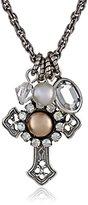 "Liz Palacios Piedras"" Swarovski Crystallized and Pearl Cross Necklace, 18"""