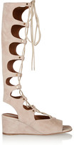 Chloé Lace-up Suede Wedge Sandals - Beige