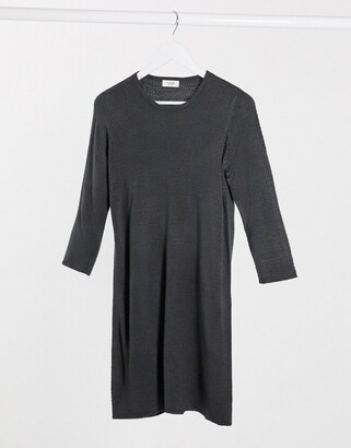 JDY Friends 3/4 sleeve knitted jumper dress in dark blue