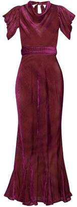 ATTICO Gathered Devore-chiffon Gown
