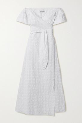 Mara Hoffman Net Sustain Adelina Organic Cotton-jacquard Wrap Maxi Dress - White