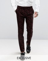 Noose & Monkey Super Skinny Suit Pant With Floral Flocking