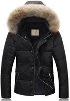JJCat Men's Big Fur Hood Solid Color Quality Casual Duck Fur Thick Warm Winter Down Coats (M, black)