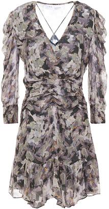 IRO Wick Ruched Floral-print Crepon Mini Dress