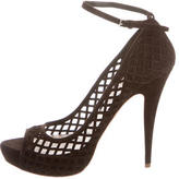 Miu Miu Suede Cutout Peep-Toe Pumps