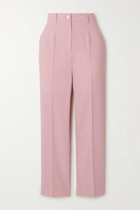 Dolce & Gabbana Striped Wool-blend Straight-leg Pants - Pink